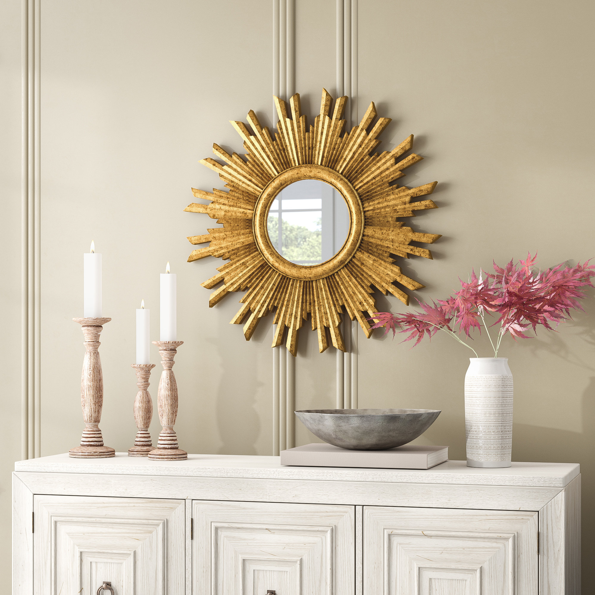 Large & Oversized Sunburst Mirrors You'll Love In 2019 | Wayfair Intended For Diamondville Modern & Contemporary Distressed Accent Mirrors (Image 12 of 20)