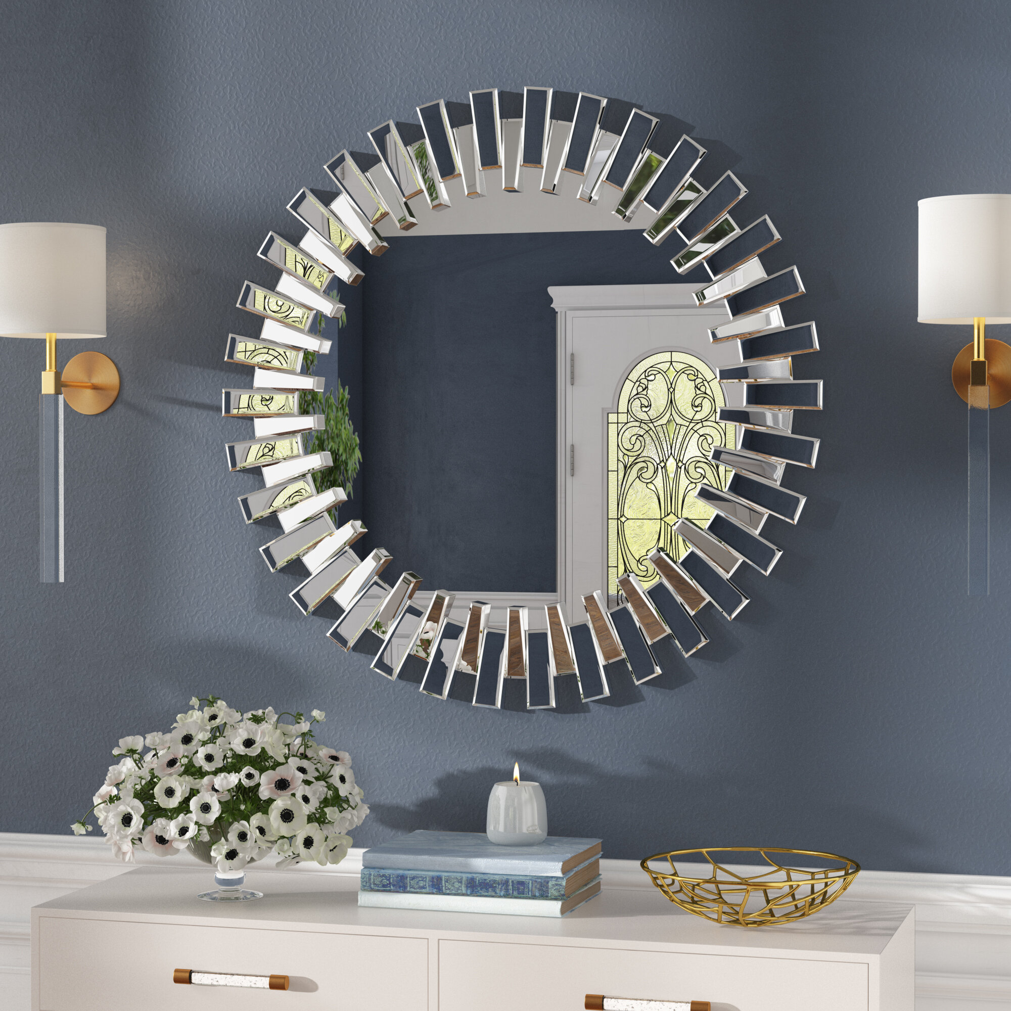 Large & Oversized Sunburst Mirrors You'll Love In 2019 | Wayfair With Harbert Modern And Contemporary Distressed Accent Mirrors (Image 11 of 20)