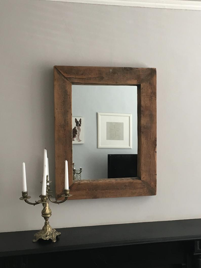 Large Rectangular Reclaimed Oak Railway Sleeper Framed Mirror, Modern Farmhouse / Rustic Industrial / Contemporary Cottage Look In Industrial Modern & Contemporary Wall Mirrors (View 20 of 20)