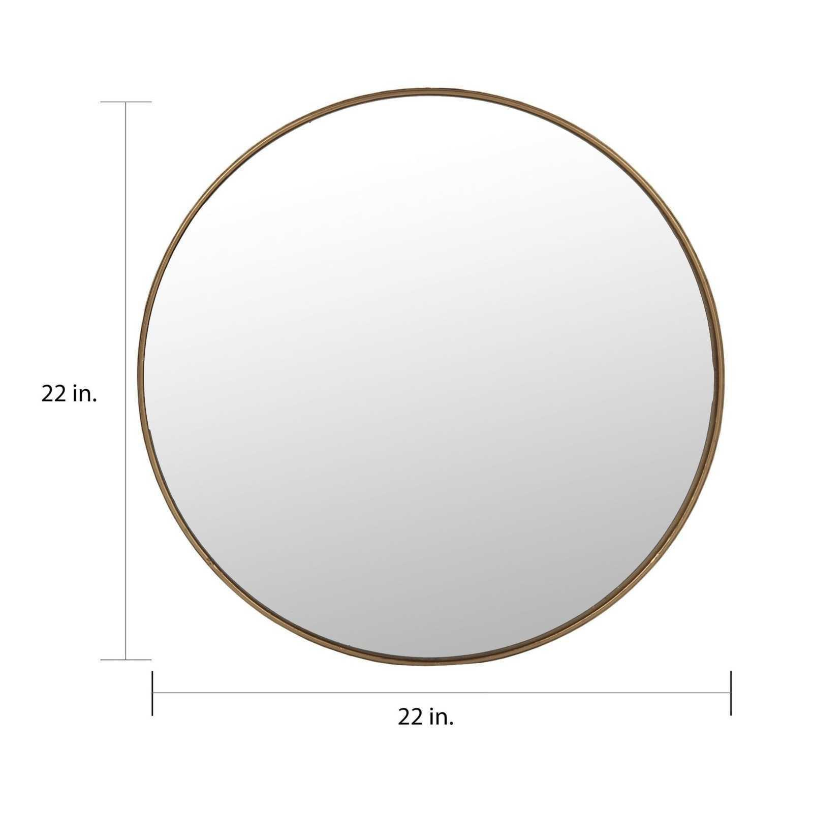 Large Round Wall Mirror Gold Frame Wall Mounted Vertical Orientation 15''  32'' H Throughout Vertical Round Wall Mirrors (Image 12 of 20)