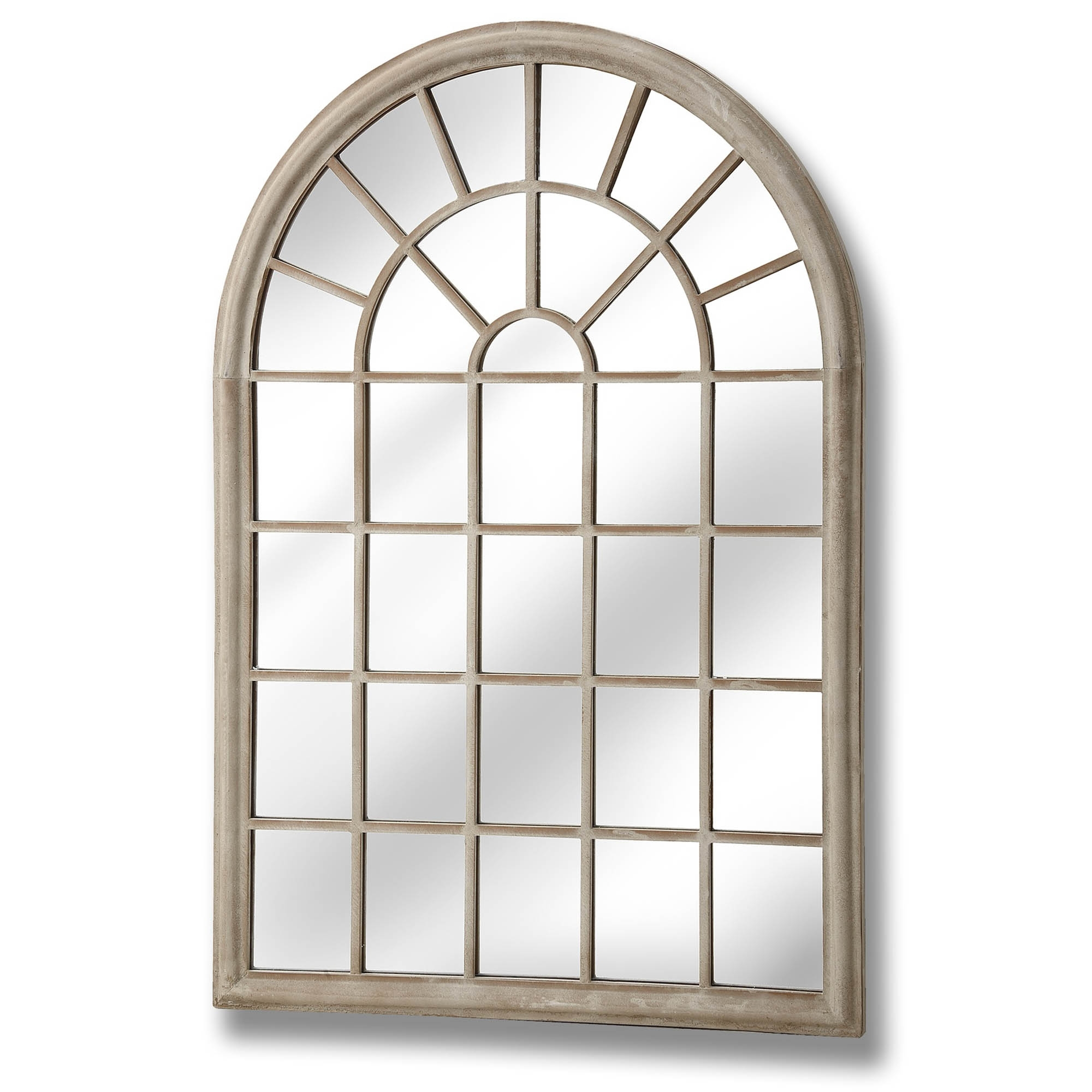 Large Rustic Arched Window Wall Mirror Within Metal Arch Window Wall Mirrors (Image 13 of 20)