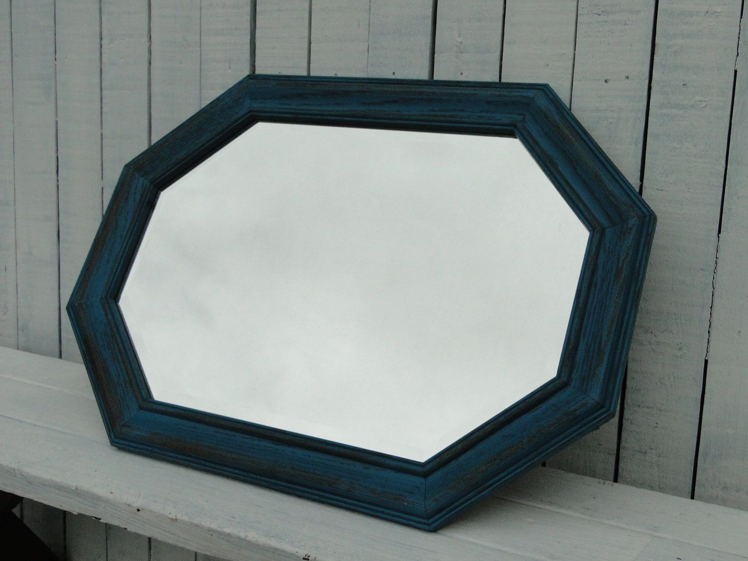 Large Vintage Wooden Octagon Mirror In Distressed Aqua Teal Inside Tifton Traditional Beveled Accent Mirrors (Image 8 of 20)