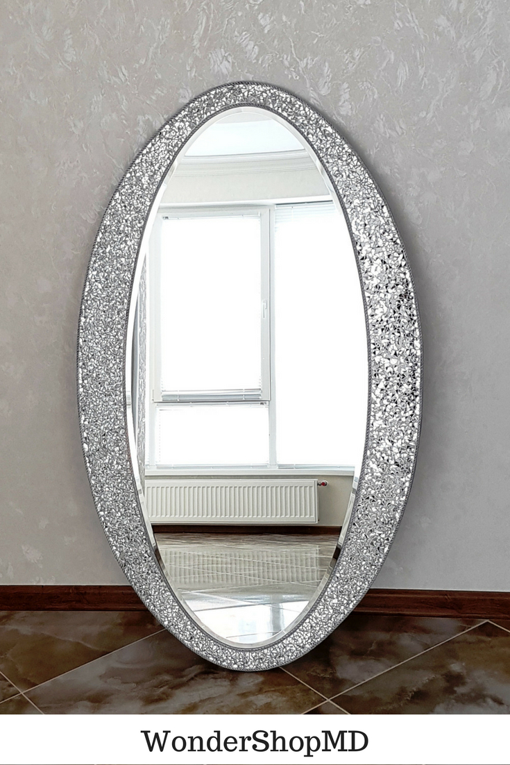 """Large Wall Mirror 43"""" X 25""""/ Oval Wall Mirror/ Mirror With Intended For Oval Metallic Accent Mirrors (Image 11 of 20)"""
