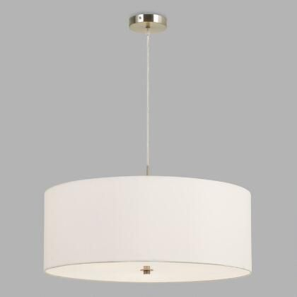 Large White Fabric Drum 3 Light Billie Pendant Lampworld Pertaining To Montes 3 Light Drum Chandeliers (View 15 of 20)