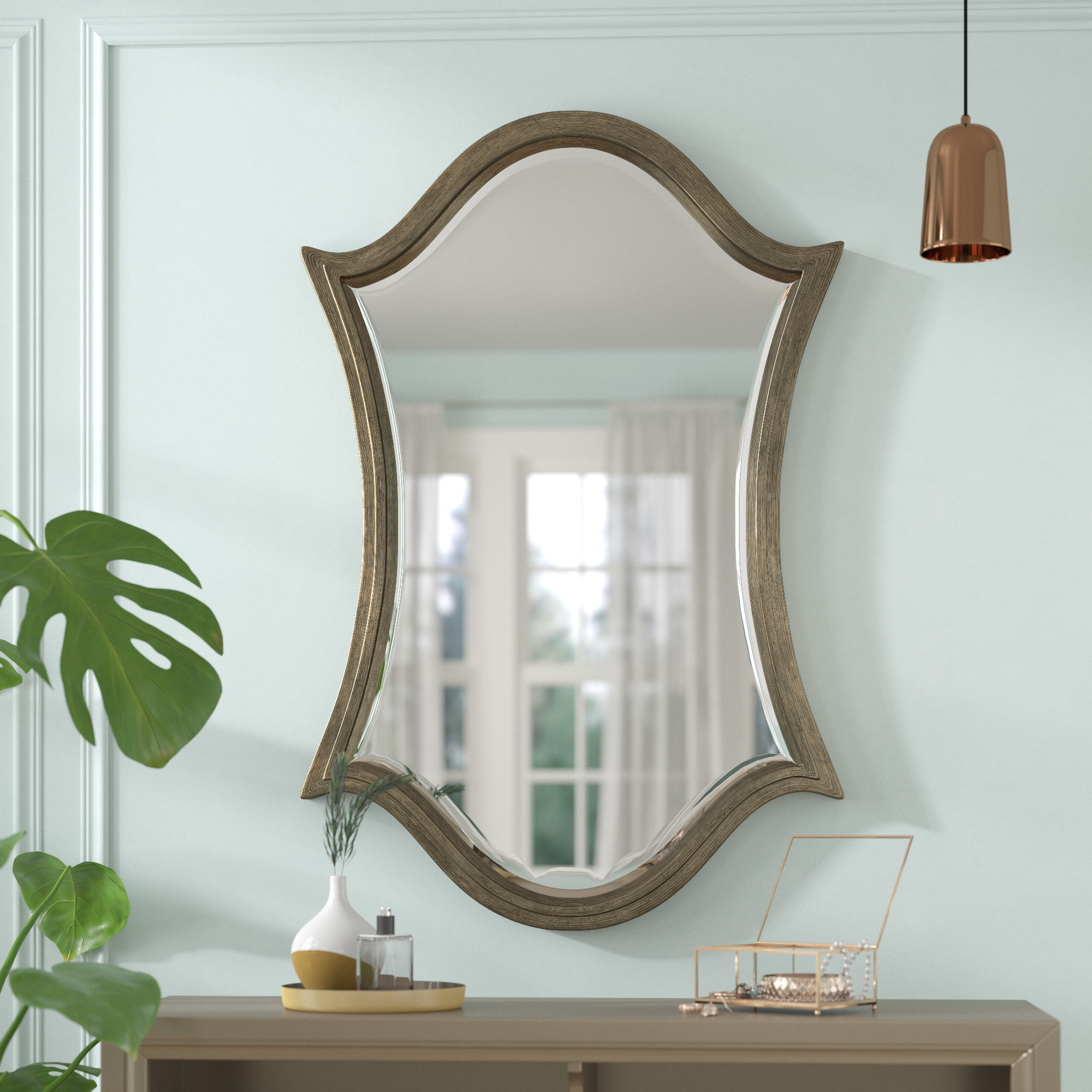 Leaf Wall Mirror | Wayfair Regarding Carstens Sunburst Leaves Wall Mirrors (Image 12 of 20)