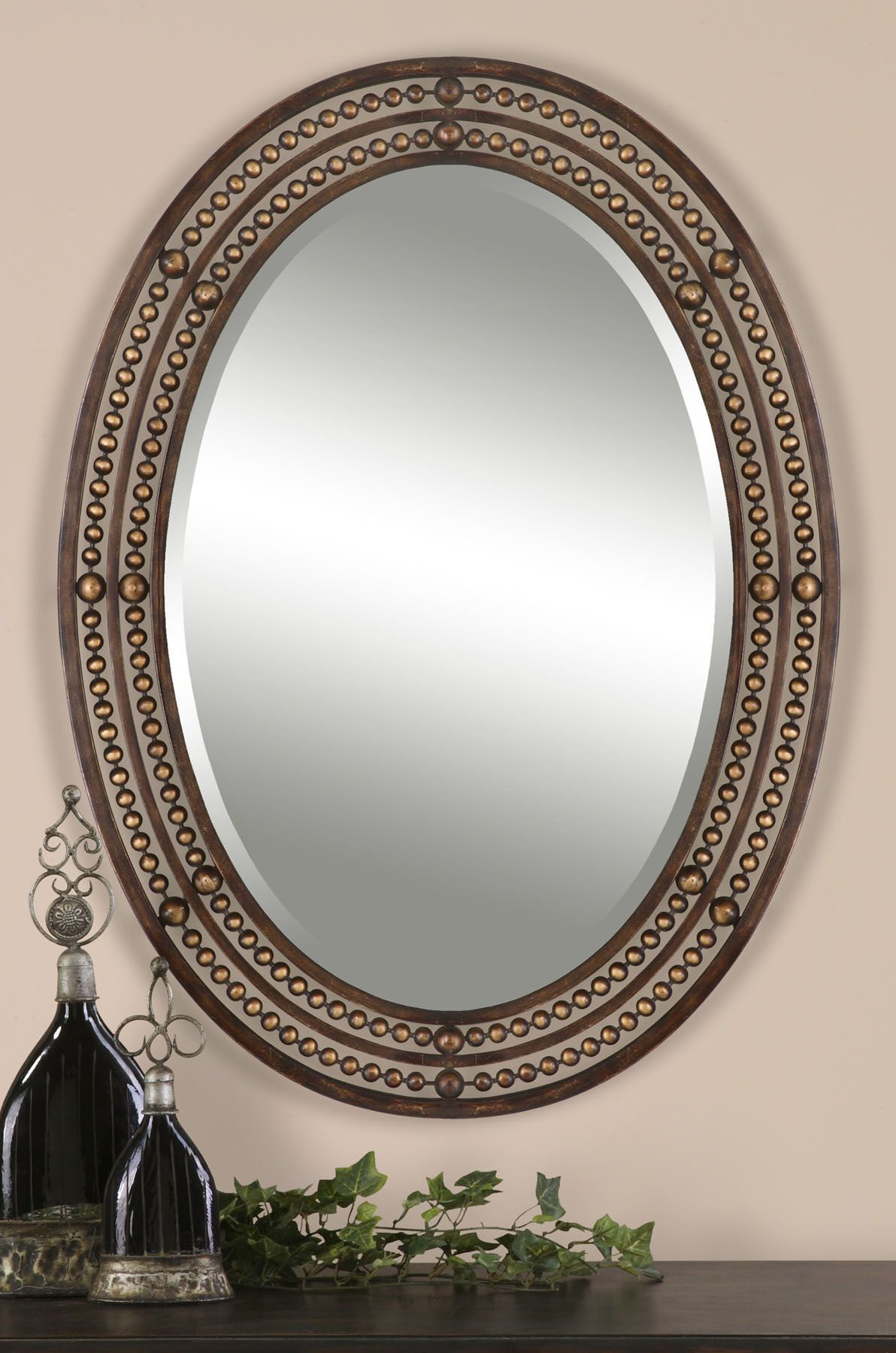Leeper Oval Wall Mirror For Pfister Oval Wood Wall Mirrors (Image 9 of 20)