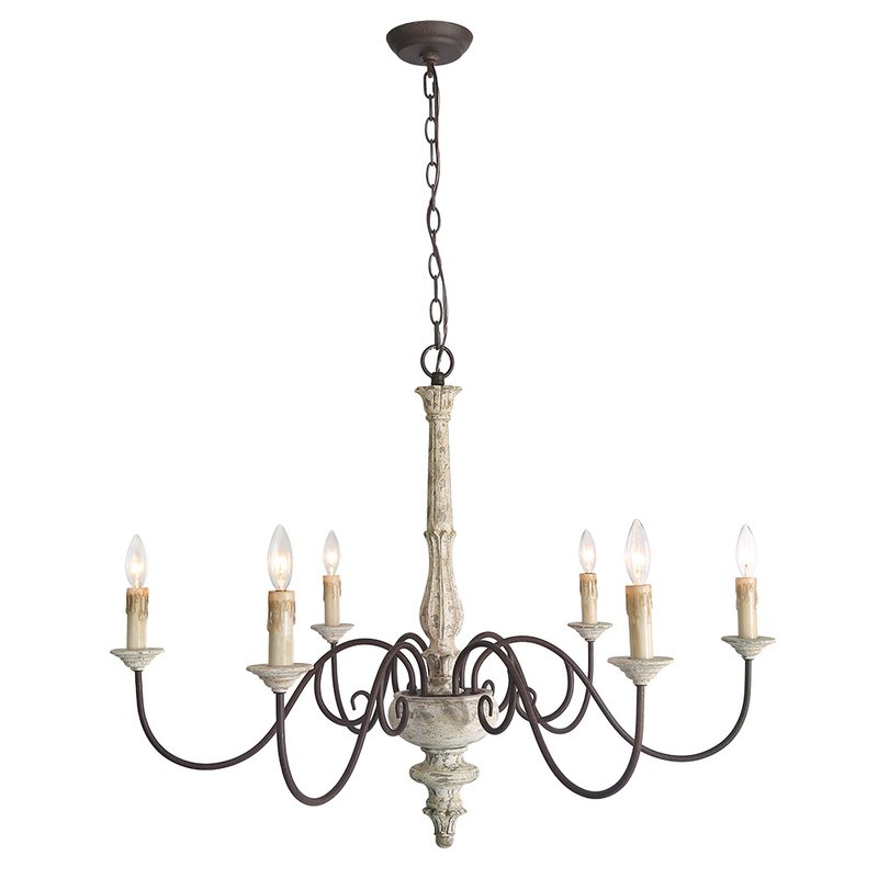 Leib Elegance French Country 6 Light Candle Style Chandelier Regarding Berger 5 Light Candle Style Chandeliers (View 7 of 20)