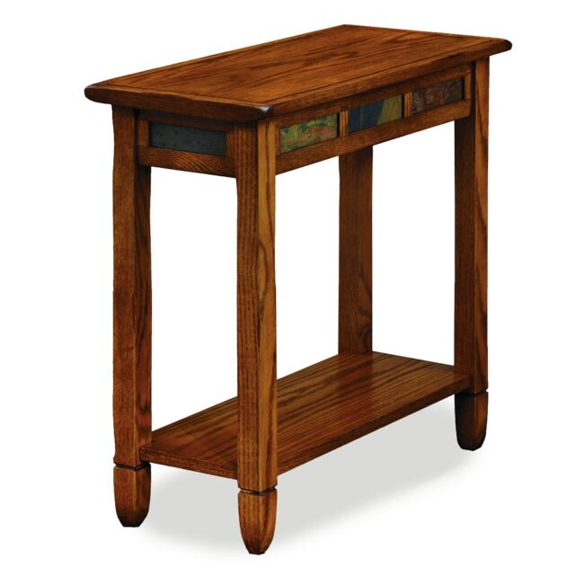 Leick 10060 Rustic Oak Chairside End Table Within Copper Grove Ixia Rustic Oak And Slate Tile Coffee Tables (View 17 of 25)