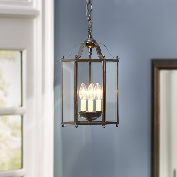 Featured Image of Leiters 3 Light Lantern Geometric Pendants