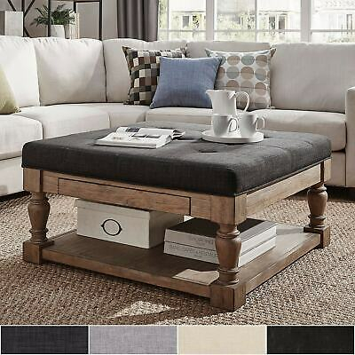 Lennon Baluster Pine Storage Tufted Cocktail Ottomanmedium | Ebay With Regard To Lennon Pine Planked Storage Ottoman Coffee Tables (View 23 of 25)