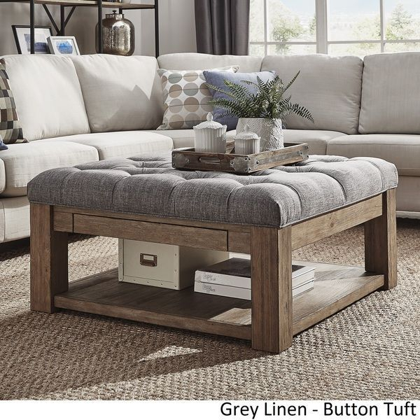 Lennon Pine Square Storage Ottoman Coffee Tableinspire Q In Lennon Pine Square Storage Ottoman Coffee Tables (Image 4 of 25)