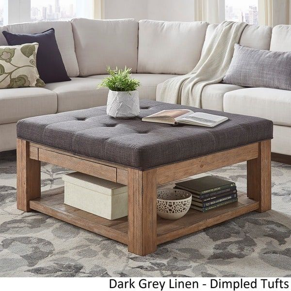 Lennon Pine Square Storage Ottoman Coffee Tableinspire Q With Lennon Pine Square Storage Ottoman Coffee Tables (Image 6 of 25)