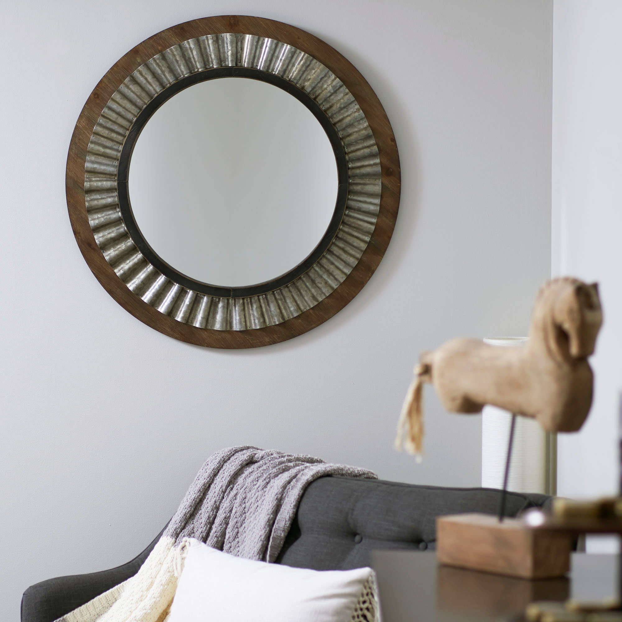 Liggins Round Wood Metal Accent Mirror Throughout Ogier Accent Mirrors (Image 11 of 20)