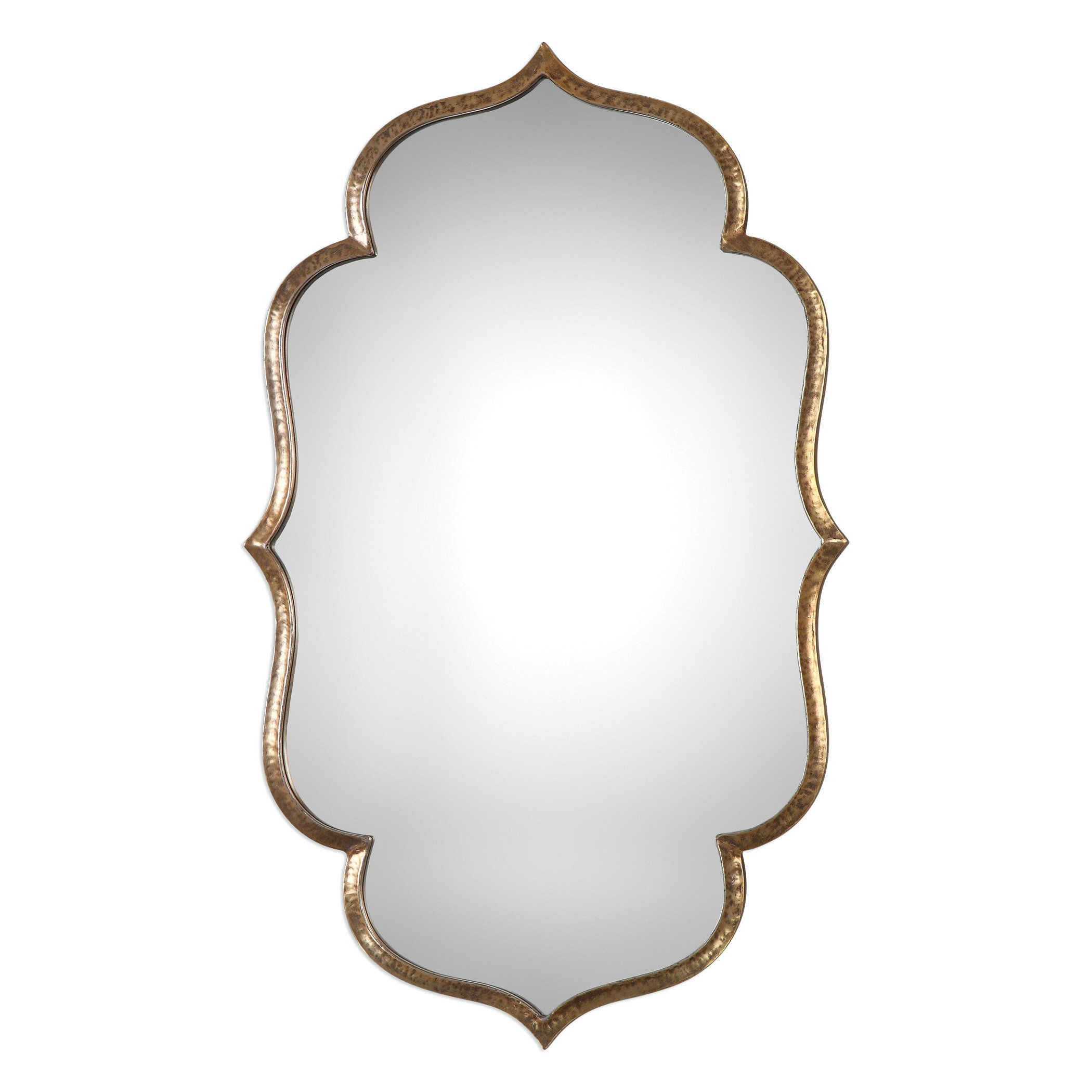 Lightly Antiqued Metallic Gold Wall Mirror | For The Home For Broadmeadow Glam Accent Wall Mirrors (View 13 of 20)