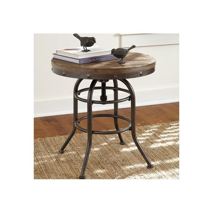 Likens End Table In 2019 | M&d Kitchen Ideas | Farmhouse End Throughout Carbon Loft Fischer Brown Solid Birch And Iron Rustic Coffee Tables (View 9 of 25)