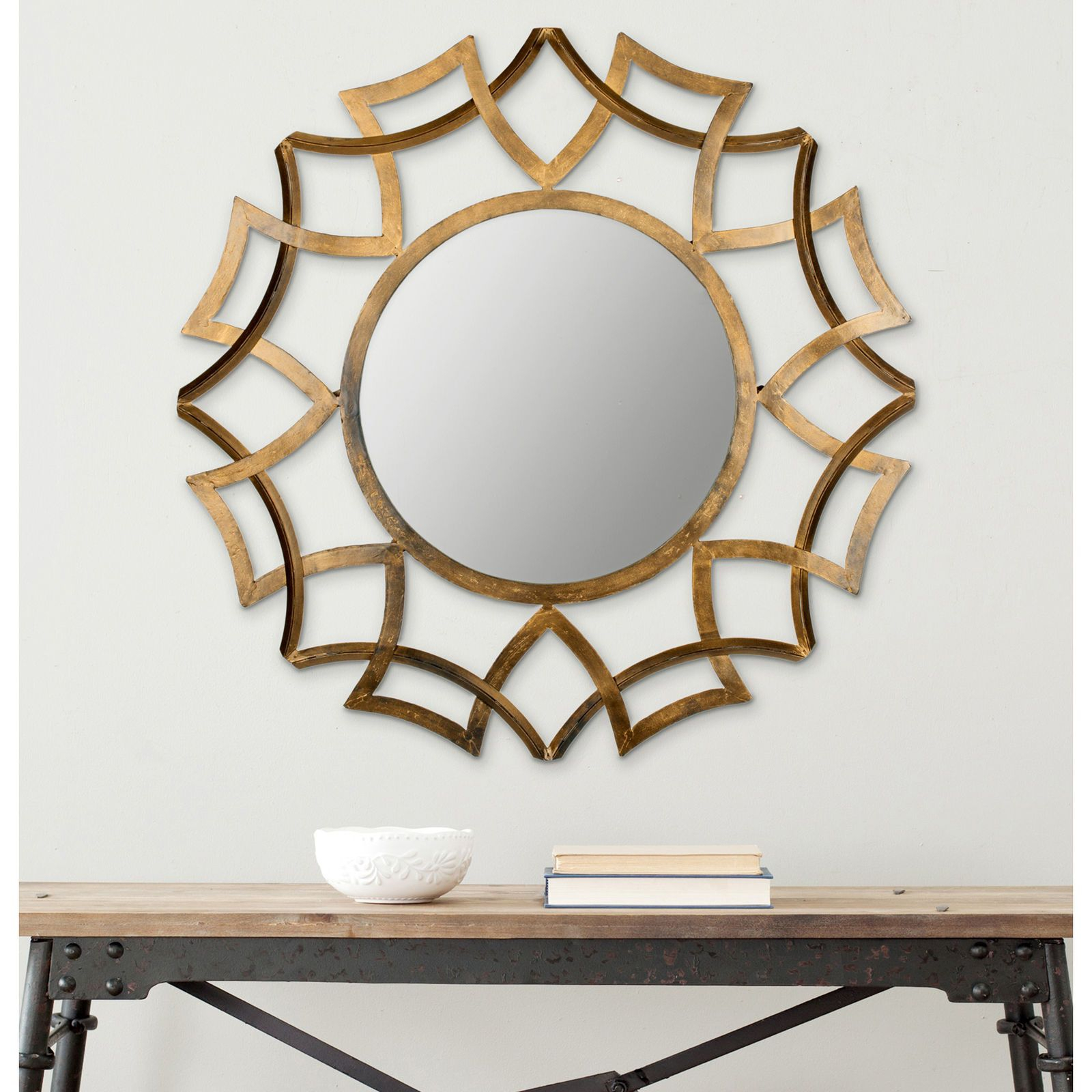 Liliana Gold Iron & Glass Mirror | It's The Details Pertaining To Brylee Traditional Sunburst Mirrors (View 13 of 20)