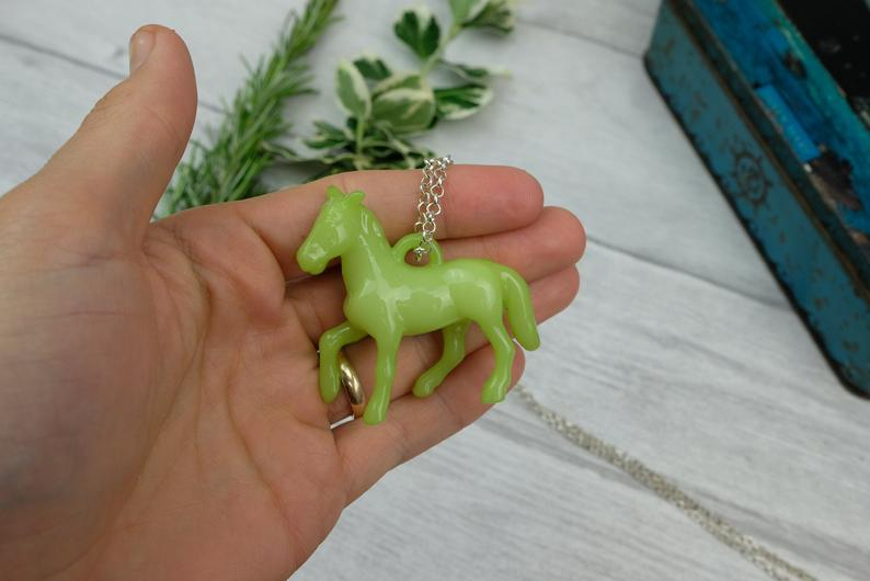 Lime Green Pony Pendant Necklace On Long Chain – Eccentric Necklace –  Statement Jewelry Regarding Dilley 1 Light Unique / Statement Geometric Pendants (Image 17 of 25)