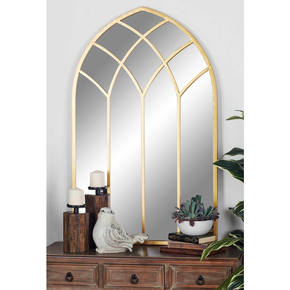 Litton Lane Arched Gold Decorative Mirror With Geometric With Regard To Gold Arch Wall Mirrors (View 4 of 20)