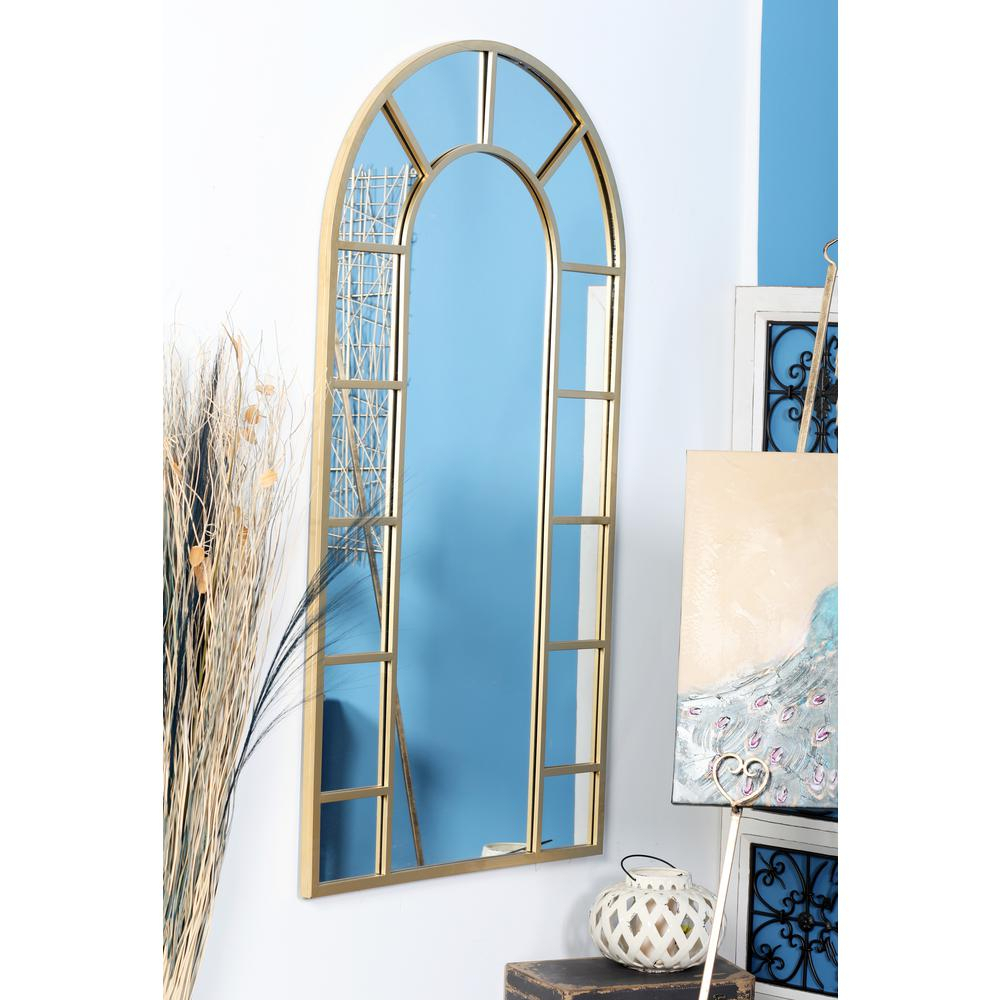Litton Lane Arched Gold Decorative Wall Mirror With 14 Pane Regarding Gold Arch Wall Mirrors (View 7 of 20)