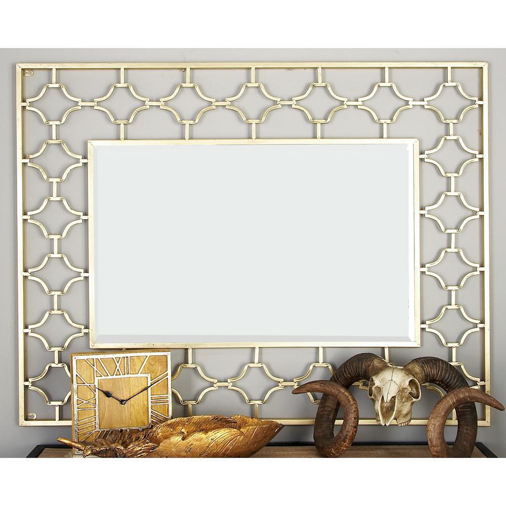 Litton Lane Modern Rectangular Gold Quatrefoil Wall Mirror In Modern Rectangle Wall Mirrors (View 11 of 20)