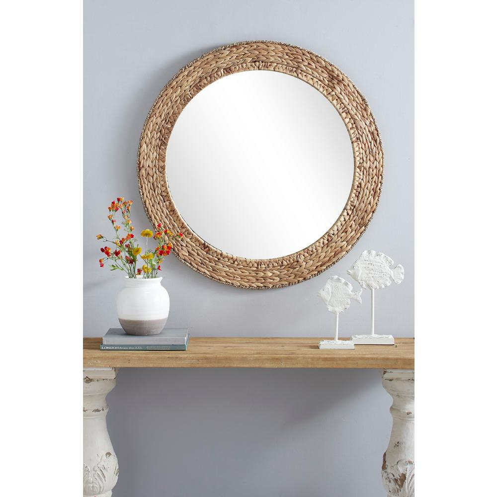 Litton Lane Round Water Hyacinth Wicker Framed Rustic Wall For Round Eclectic Accent Mirrors (Image 7 of 20)