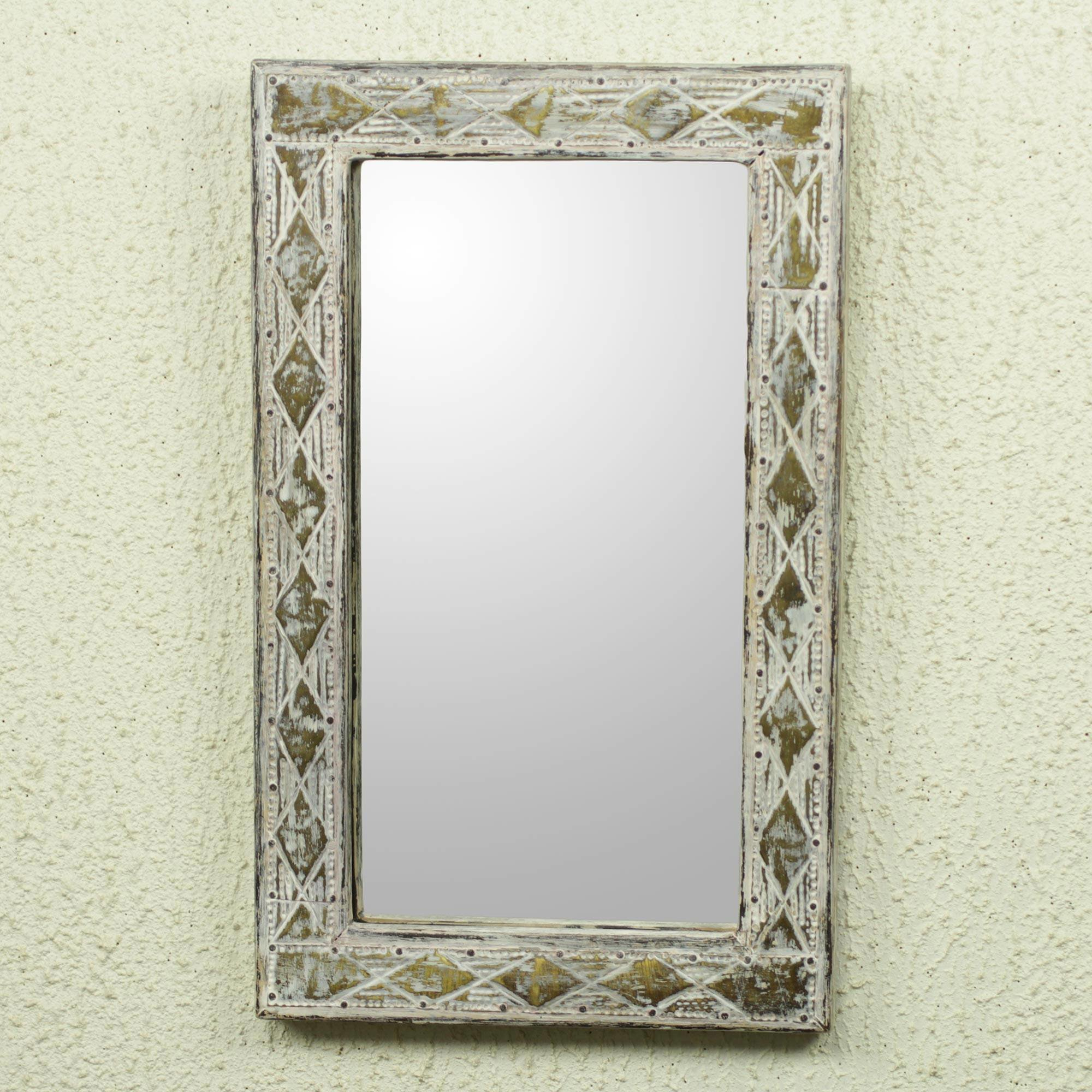 Lizabeta Antique Wood And Brass Wall Mirror With Regard To Stamey Wall Mirrors (Image 13 of 20)