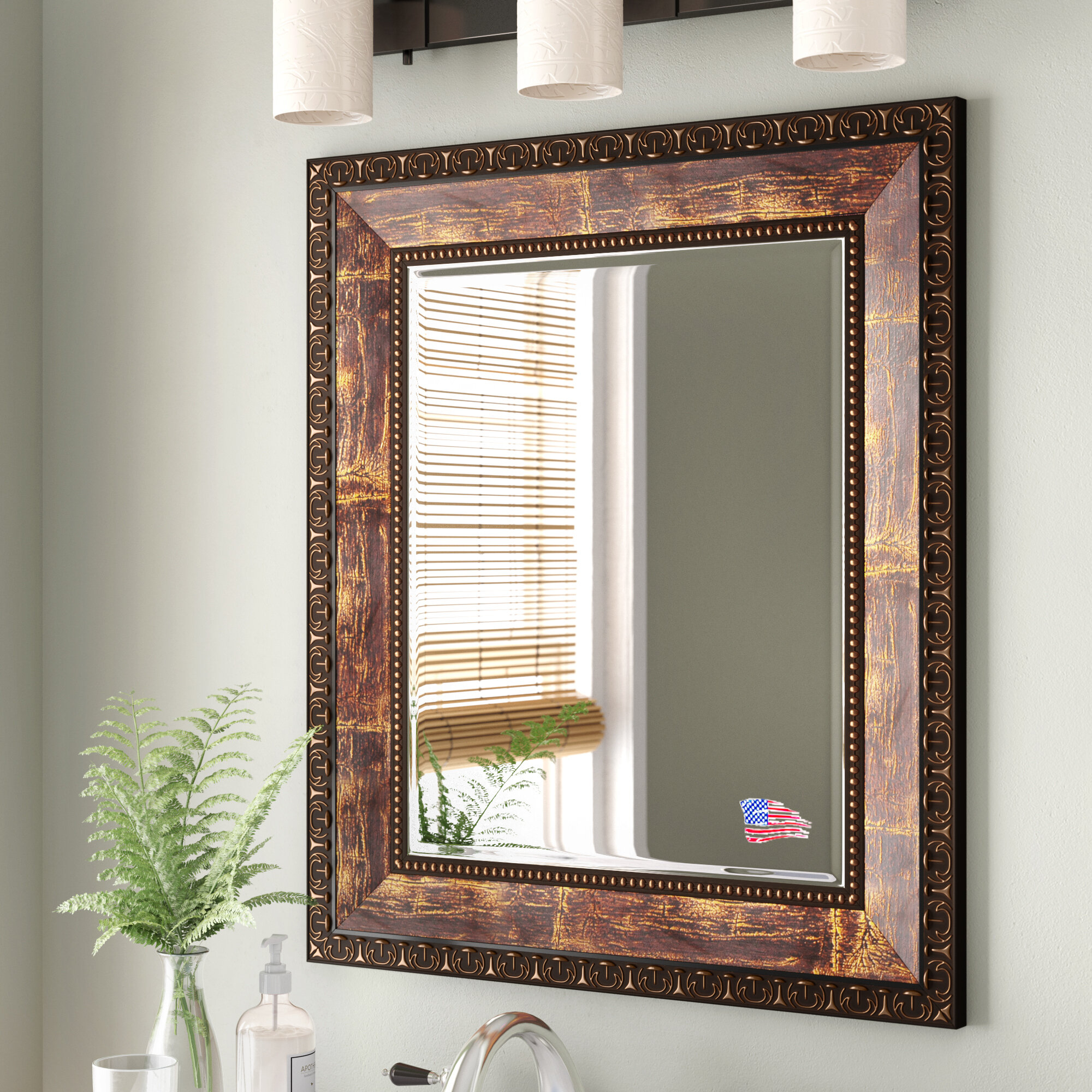 Lofgren Rectangle Wood Traditional Wall Mirror Throughout Kristy Rectangular Beveled Vanity Mirrors In Distressed (Image 16 of 20)