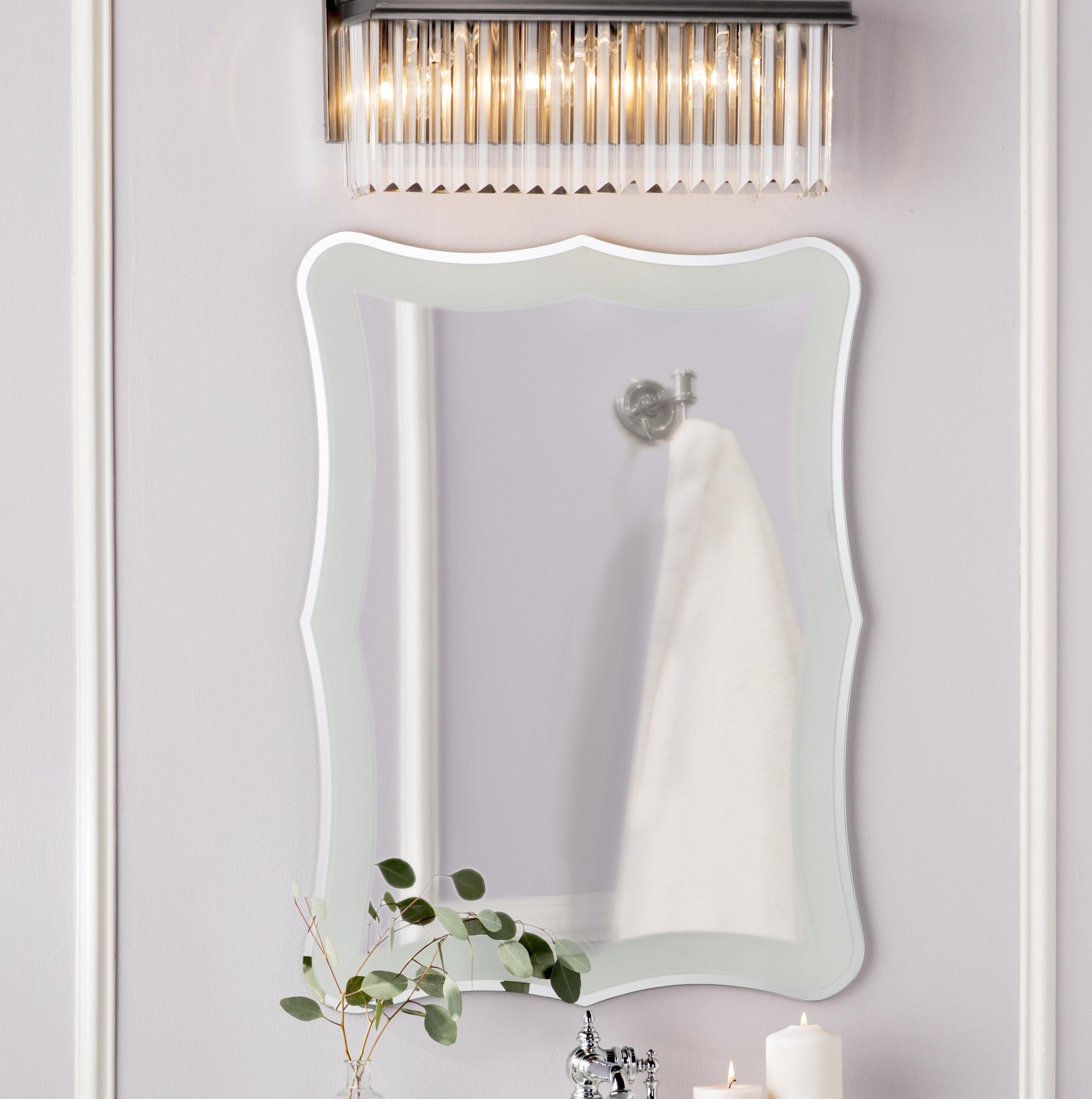 Logan Frameless Wall Mirror Within Traditional Frameless Diamond Wall Mirrors (Image 10 of 20)