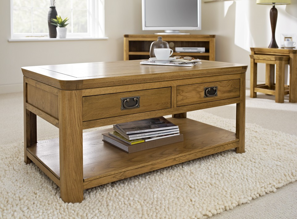 London Oak Coffee Table With Drawers – Coffee Tables Throughout Rustic Oak Coffee Tables (Image 10 of 25)