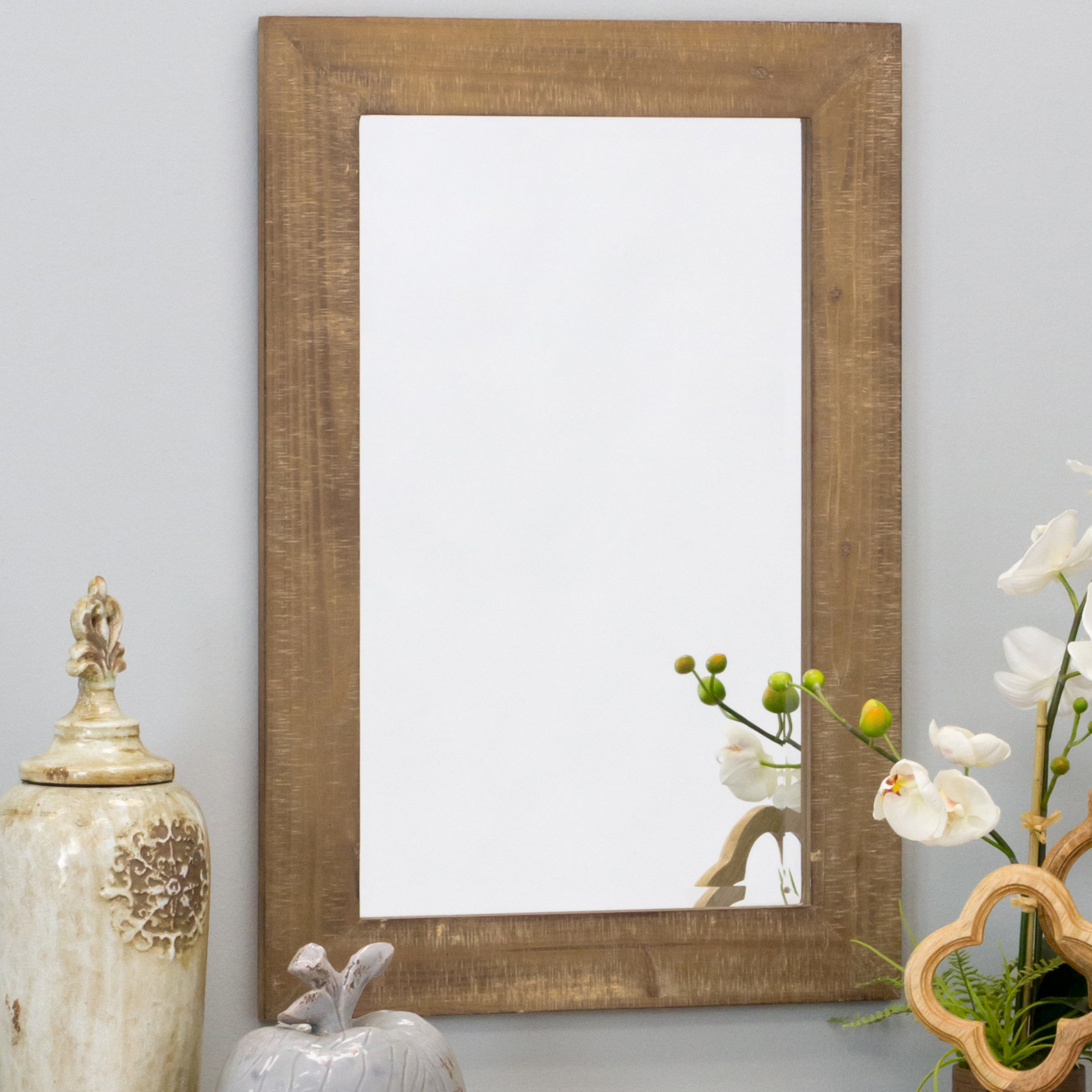 Longwood Rustic Beveled Accent Mirror Pertaining To Longwood Rustic Beveled Accent Mirrors (Image 7 of 20)