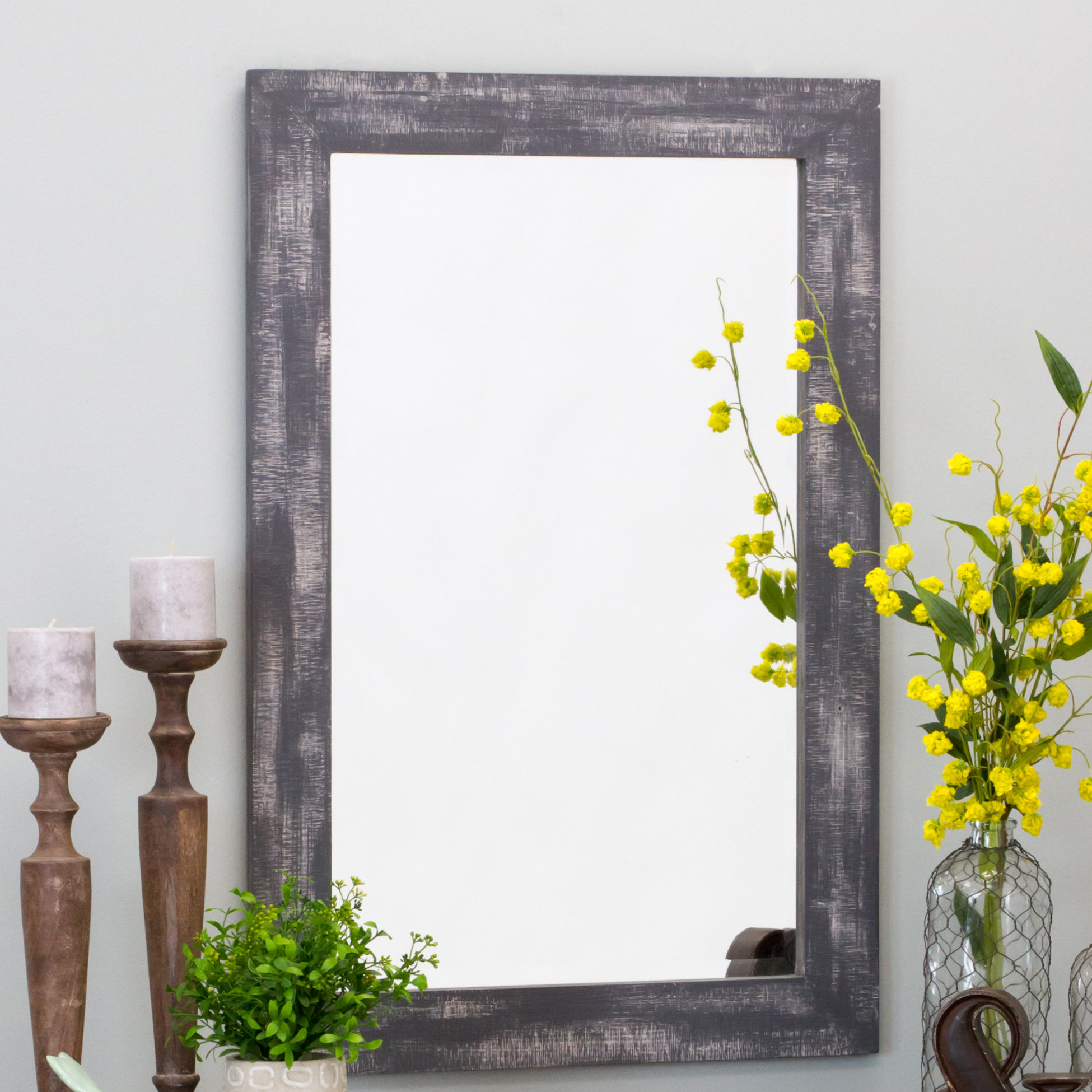 Longwood Rustic Beveled Accent Mirror Within Longwood Rustic Beveled Accent Mirrors (Image 8 of 20)