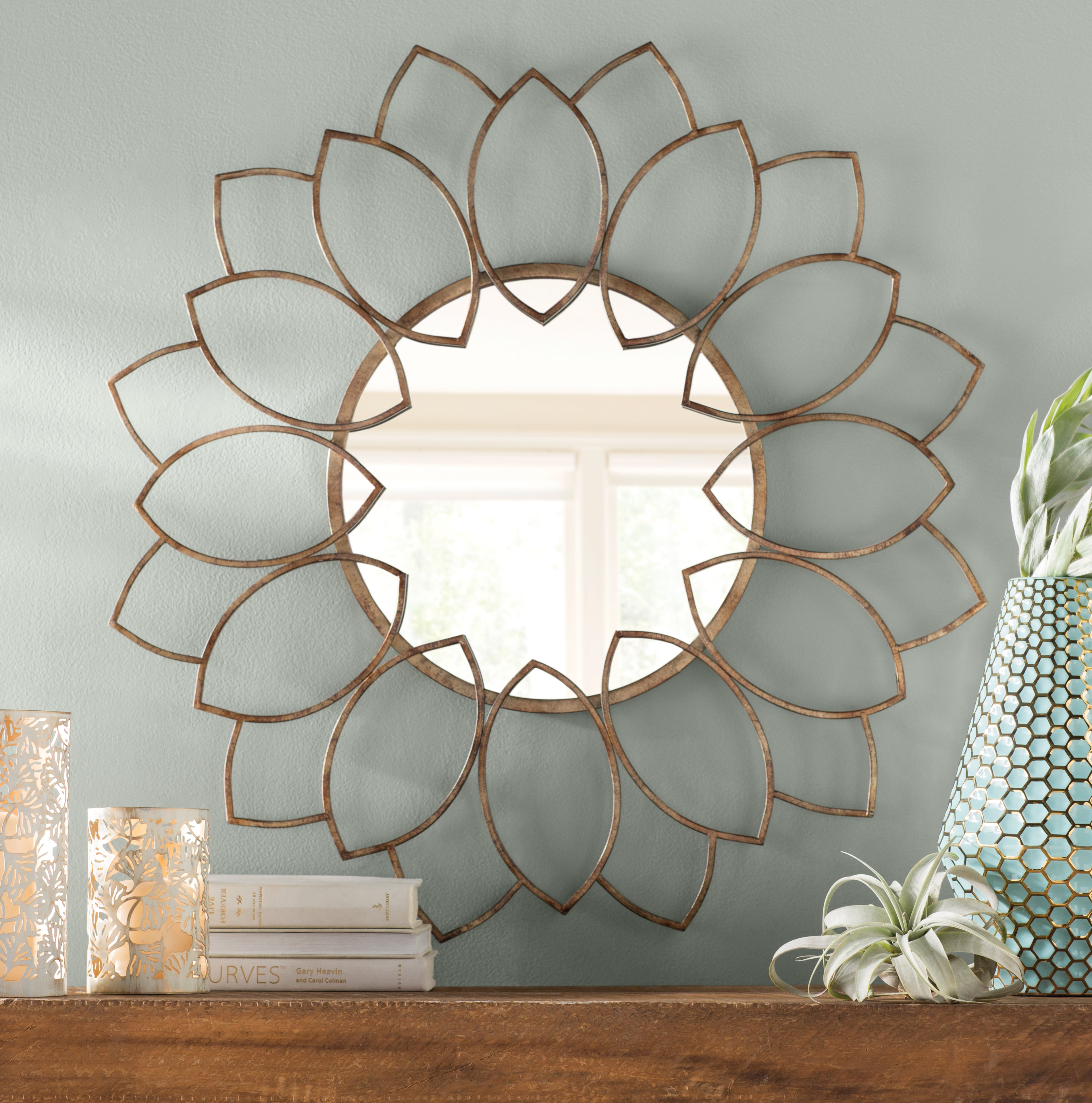 Lotus Mirror | Wayfair Pertaining To Bruckdale Decorative Flower Accent Mirrors (View 11 of 20)