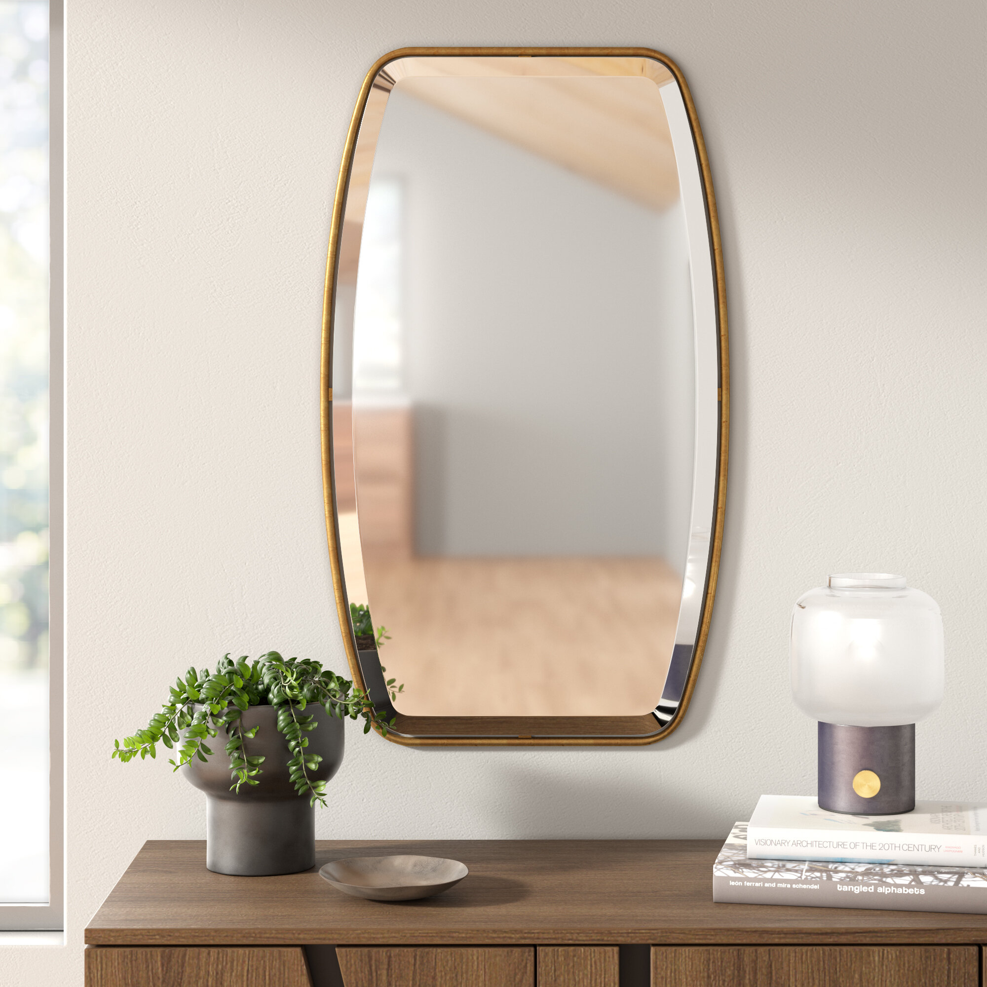 Lugo Rectangle Gold Metal Wall Mirror Within Lugo Rectangle Accent Mirrors (Image 12 of 20)