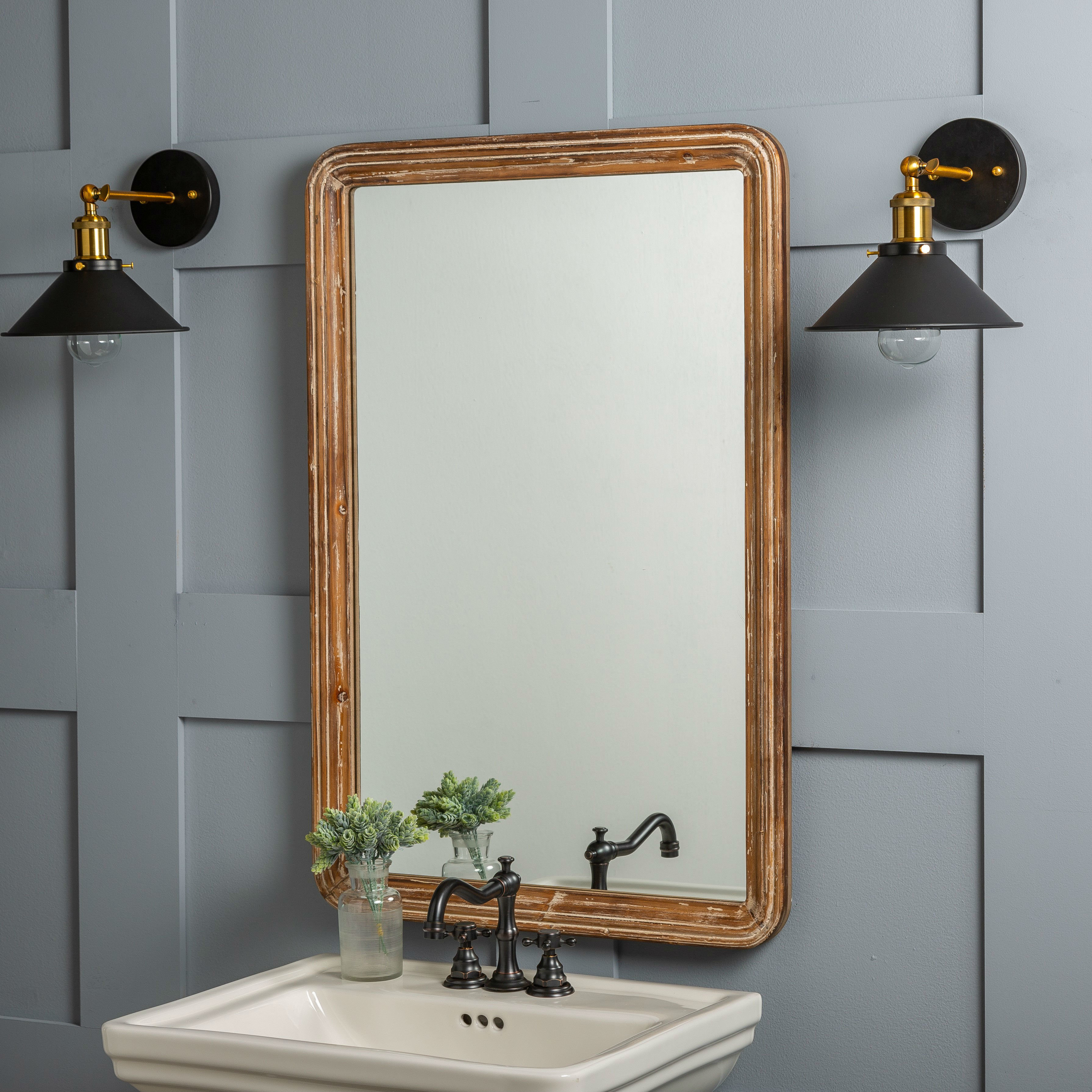 Luman Wall Mirror Inside Kristy Rectangular Beveled Vanity Mirrors In Distressed (Image 17 of 20)