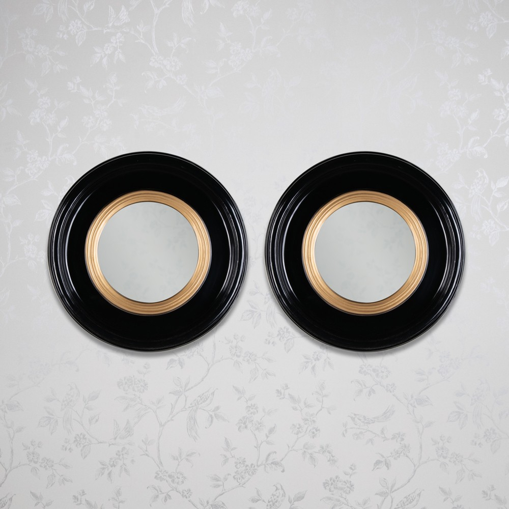 Luna Set Of 2 Accent Mirror Round Black Gold 42Cm Regarding Luna Accent Mirrors (Image 11 of 20)