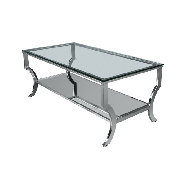 Lyke Home Chic And Modern Glass Coffee Table Regarding Finbar Modern Rectangle Glass Coffee Tables (View 3 of 25)