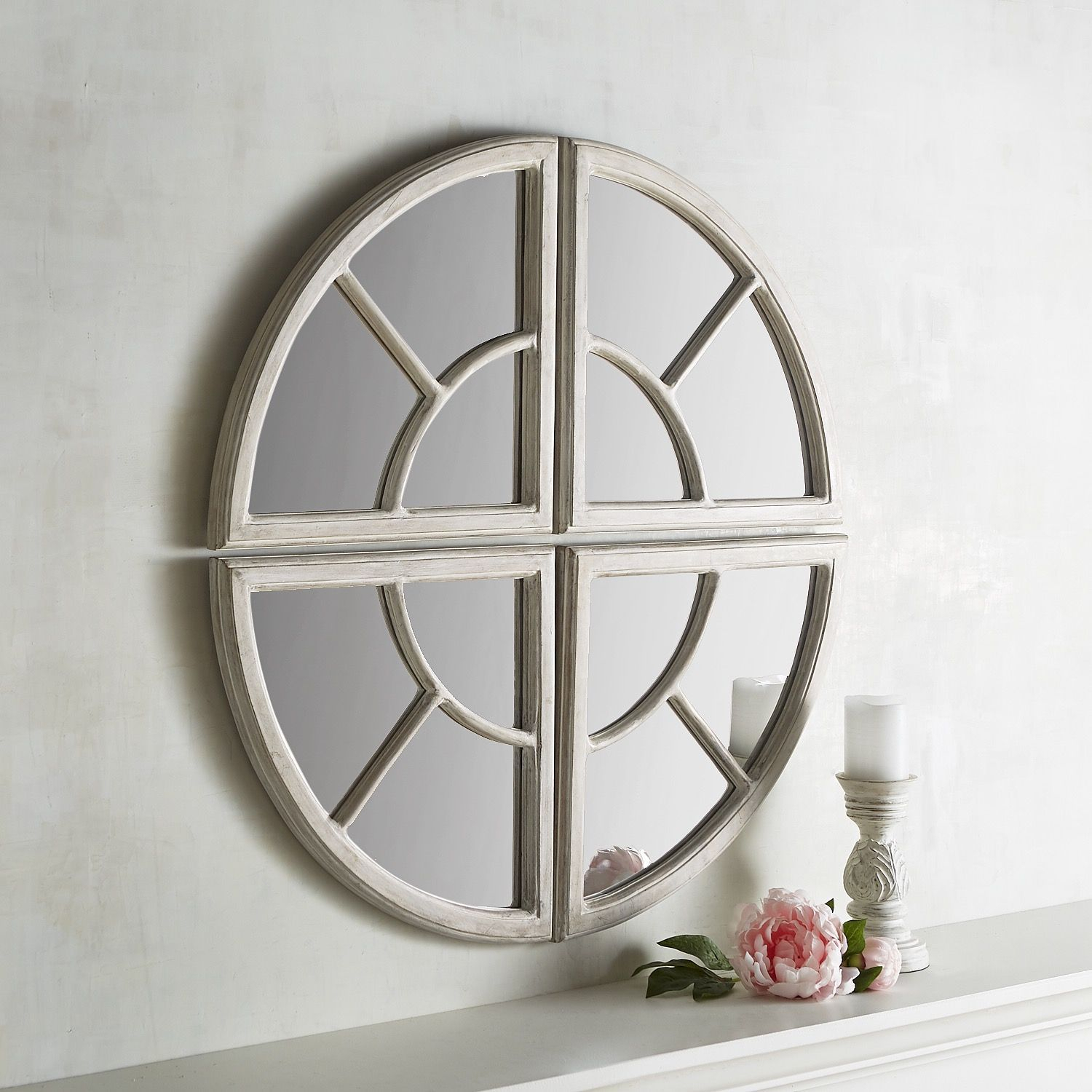 Maddie 4 Piece Wooden Round Mirror Set White | *decor Intended For Polito Cottage/country Wall Mirrors (Image 10 of 20)