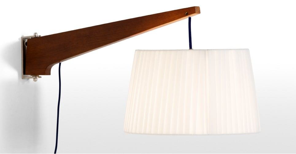 Made Wall Lamp, Walnut & Navy. Express Delivery (View 15 of 25)