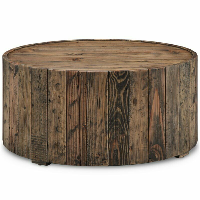 Magnussen Dakota Round Coffee Table With Casters In Rustic Pine 788093240670 | Ebay With Regard To Winslet Cherry Finish Wood Oval Coffee Tables With Casters (View 9 of 25)