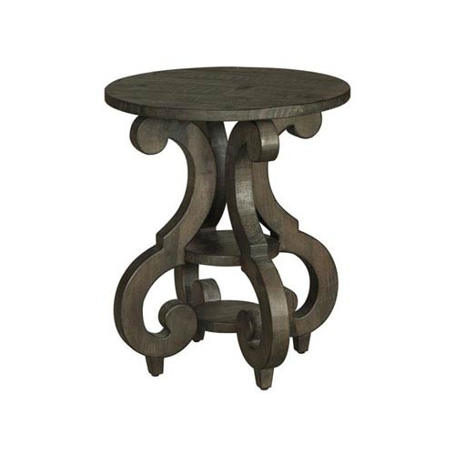 Magnussen Home Bellamy Round Accent End Table In Weathered Pine Intended For Bellamy Traditional Weathered Peppercorn Storage Coffee Tables (View 10 of 25)
