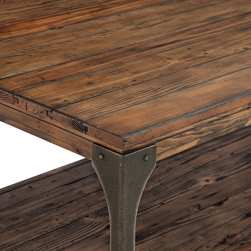 Magnussen Home Montgomery Industrial Reclaimed Wood Coffee Table With Casters In Bourbon Finish Within Montgomery Industrial Reclaimed Wood Coffee Tables With Casters (View 10 of 50)