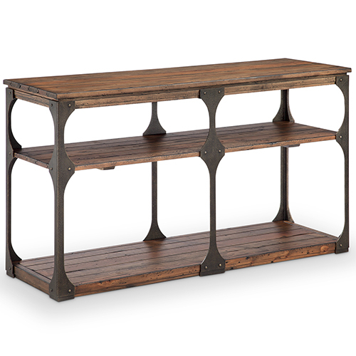 Magnussen Home Montgomery Industrial Reclaimed Wood Rectangular Entryway Table In Bourbon Finish With Regard To Montgomery Industrial Reclaimed Wood Coffee Tables With Casters (View 41 of 50)