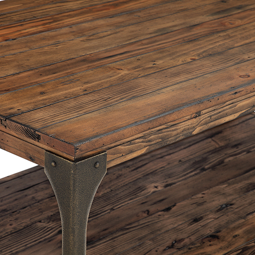 Magnussen Home Montgomery Industrial Reclaimed Wood Round Coffee Table With Casters In Bourbon Finish Pertaining To Montgomery Industrial Reclaimed Wood Coffee Tables With Casters (View 5 of 50)