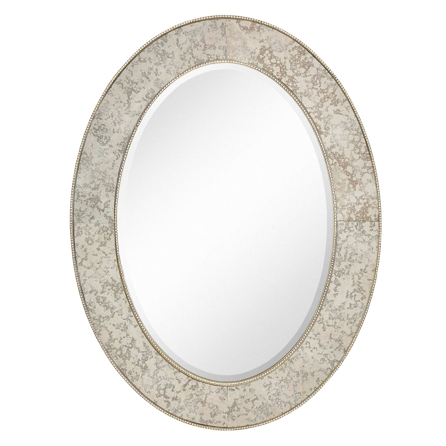 "Majestic 30"" X 40"" Traditional Silver Oval Framed Beveled Glass Accent  Mirror Pertaining To Traditional Beveled Accent Mirrors (Image 9 of 20)"