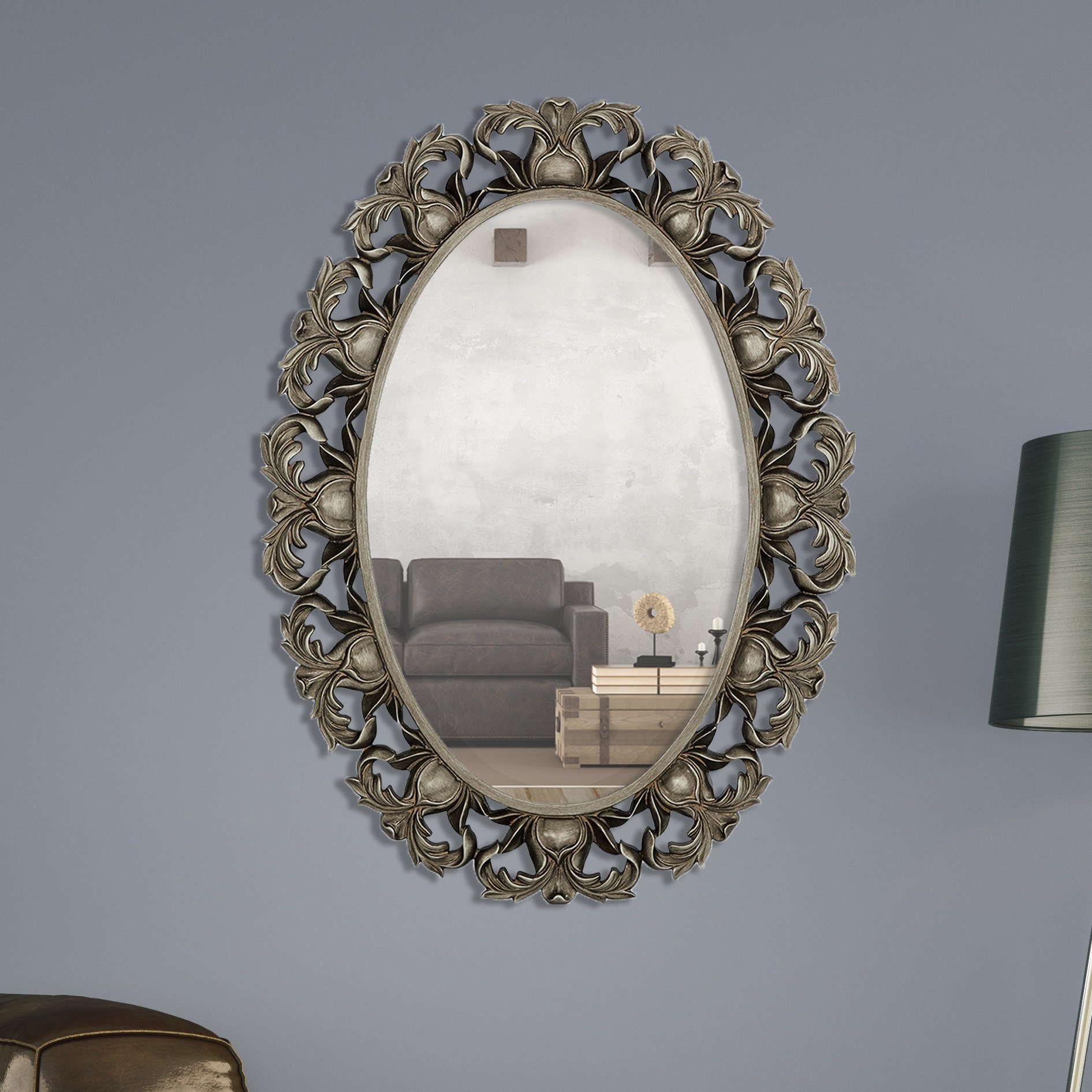 Majestic Mirror Oval Beveled Glass Framed Wall Bathroom For Thornbury Oval Bevel Frameless Wall Mirrors (Image 11 of 20)