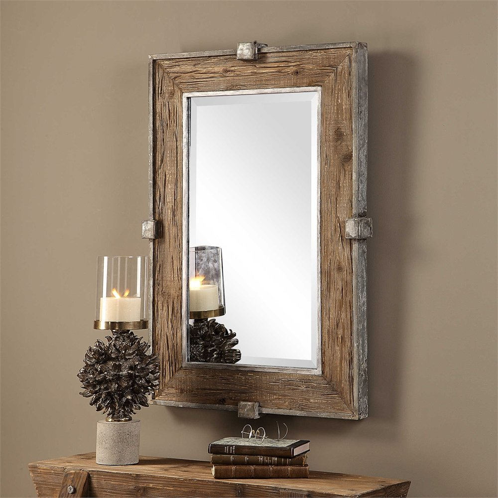 Maleah Weathered Wood Accent Mirror In Tifton Traditional Beveled Accent Mirrors (Image 9 of 20)