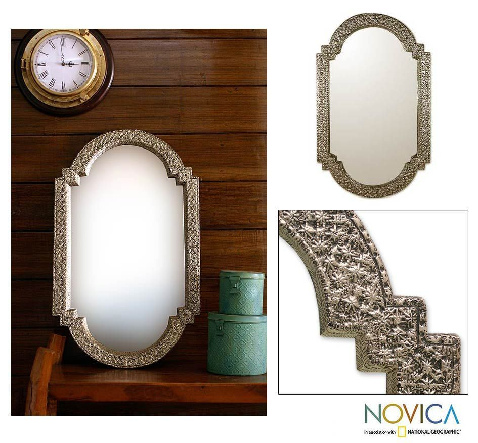 Mango Wood 'palace Window' Mirror (India)   Overstock For Padang Irregular Wood Framed Wall Mirrors (View 19 of 20)