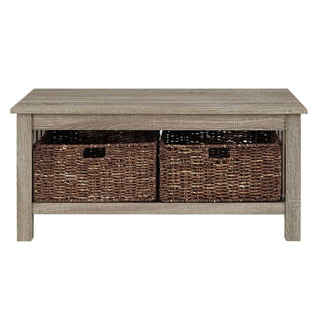 Manor Park Rustic Wood Coffee Table With Storage Baskets – Multiple Finishes For Rustic Coffee Tables With Wicker Storage Baskets (Image 11 of 25)