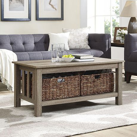 Manor Park Rustic Wood Coffee Table With Storage Baskets – Multiple Finishes Inside Rustic Coffee Tables With Wicker Storage Baskets (Image 12 of 25)