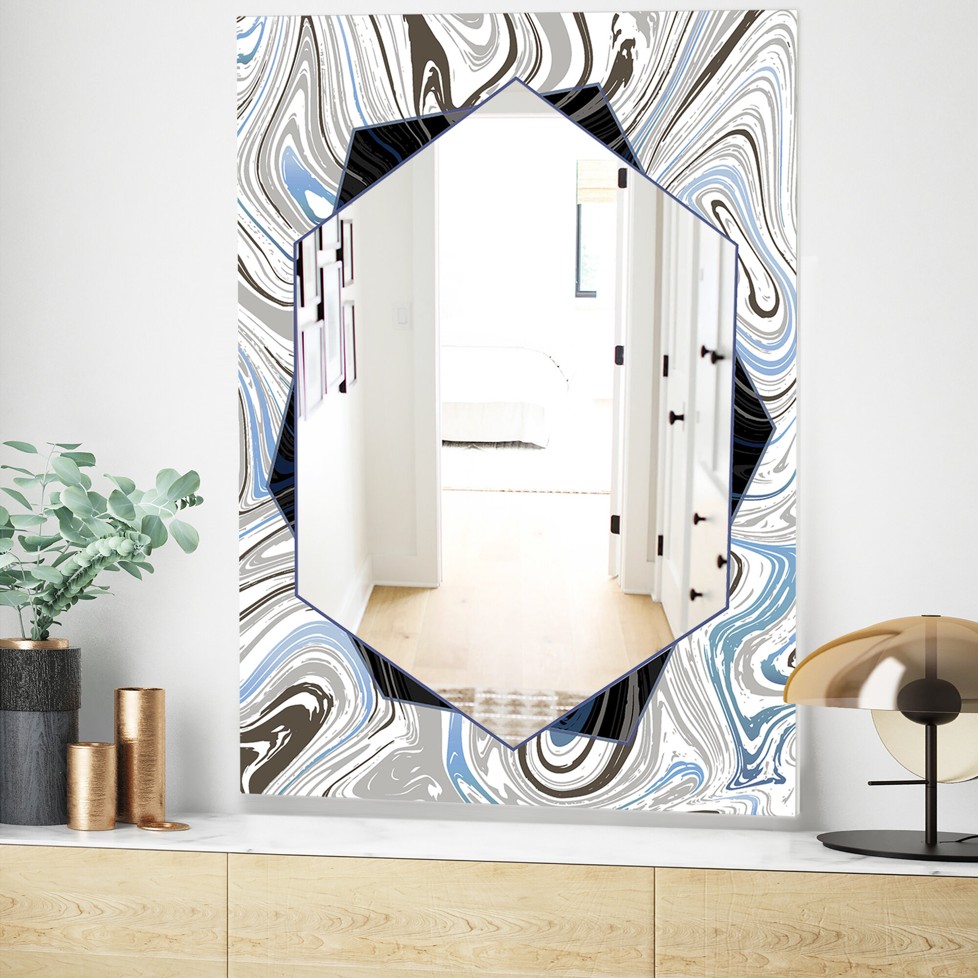 Marbled Diamond Traditional Frameless Accent Mirror With Traditional Frameless Diamond Wall Mirrors (Image 11 of 20)